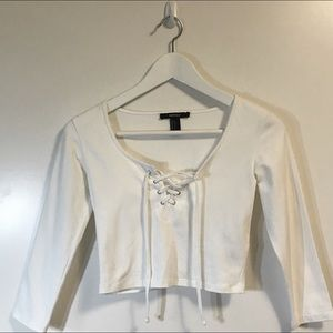 Forever 21 | White Lace Up 3/4 Sleeve Crop Top S